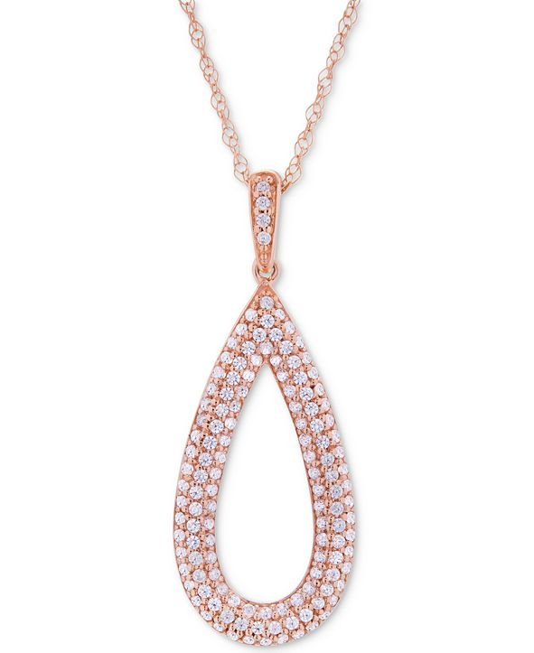 Wrapped in Love Diamond Pavé Teardrop Pendant Necklace (1/2 ct. t.w.) in 14k Rose Gold, Created for Macy's