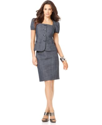 Nine West Suit, Puff Sleeve Jacket & Skirt