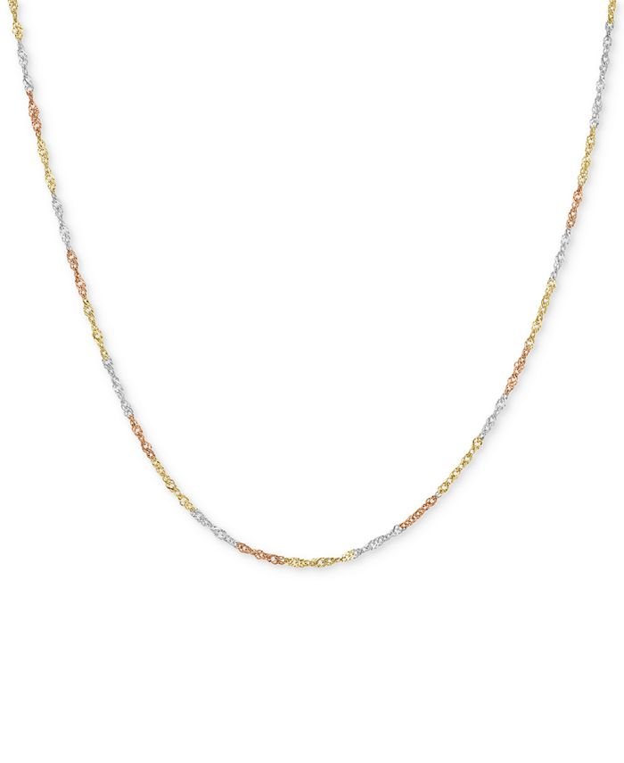 Macy's - Tri-Color Singapore Chain Collar Necklace in 14k Gold, White Gold & Rose Gold