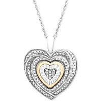 Macy's Diamond Accent 10k Gold Two-Tone Heart Pendant Necklace