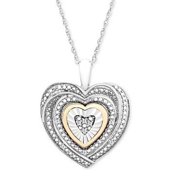 Macy's Diamond Accent 10k Gold Two-Tone Heart Pendant Necklace