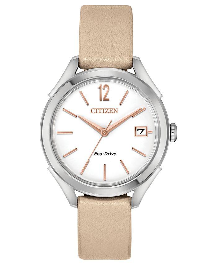Citizen - Women's Beige Leather Strap Watch 34mm