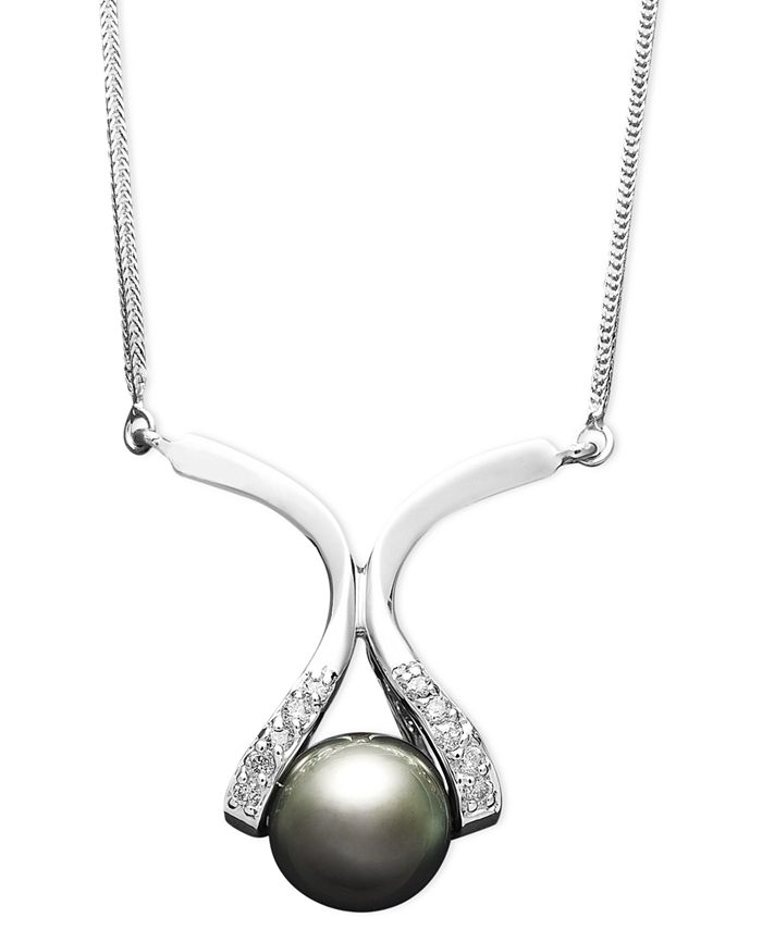 Macy's - 14k Gold Necklace, Cultured Tahitian Pearl (8mm) and Diamond Accent Pendant