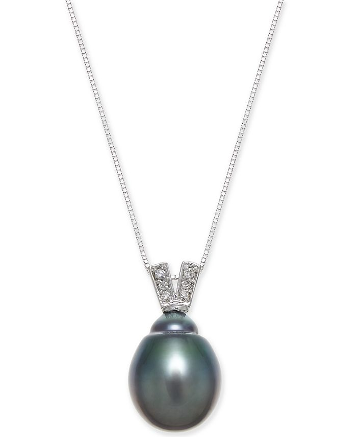 Macy's - Black Cultured Tahitian Pearl (11mm) & Diamond Accent Pendant Necklace in 14k White Gold