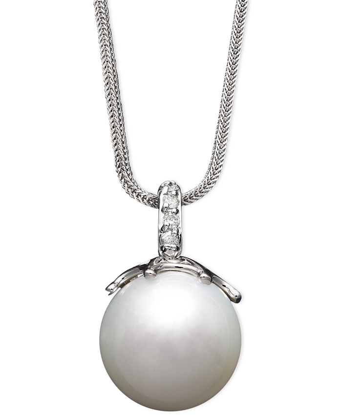Macy's - 14k White Gold Necklace, Cultured South Sea Pearl (14mm) and Diamond Accent Pendant