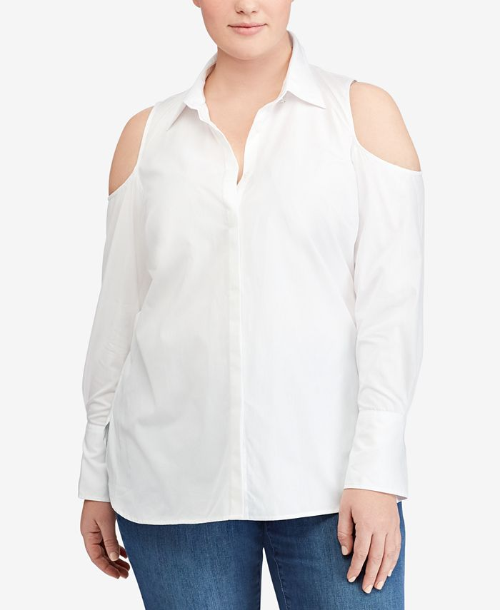 Lauren Ralph Lauren - Plus Size Cold-Shoulder Cotton Shirt