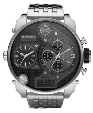 Diesel Watch, Analog Digital Stainless Steel Bracelet 60x20mm DZ7221
