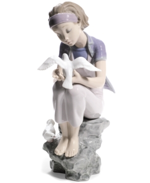 Lladro Collectible Figurine, Playing with Doves 2011