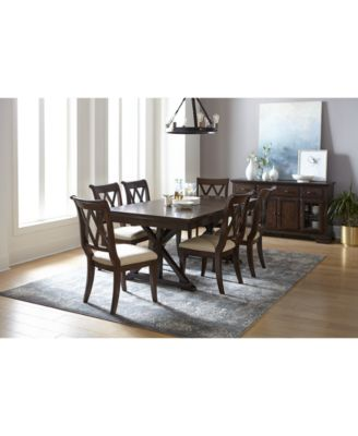Furniture Baker Street Dining Furniture 7 Pc Set Dining Trestle Table 6 Side Chairs Reviews Furniture Macy S
