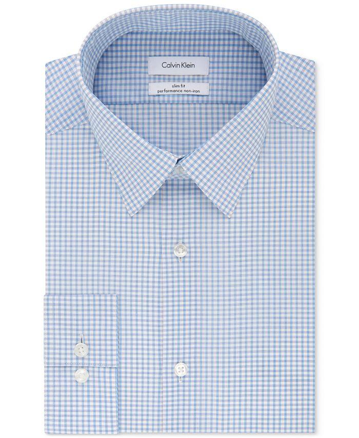 Calvin Klein - Men's STEEL Slim-Fit Non-Iron Performance Stretch Blue Check Dress Shirt