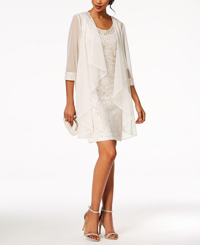 R & M Richards - Embellished Lace Sheath Dress & Jacket