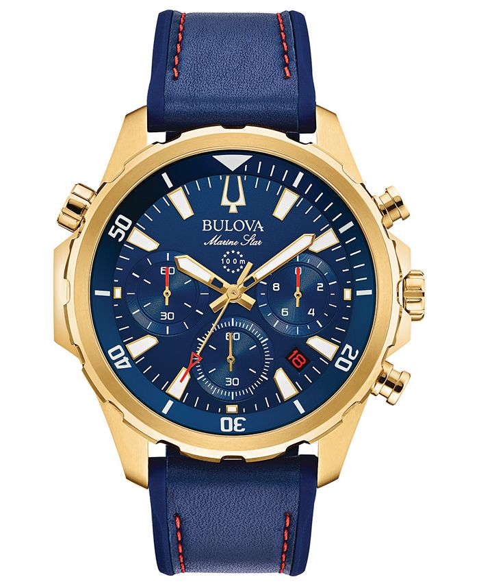 Bulova - Men's Chronograph Marine Star Blue Leather & Silicone Strap Watch 43mm
