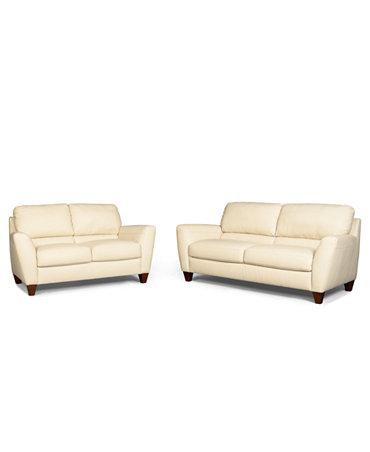 Almafi 2 Piece Leather Sofa Set Sofa And Love Seat