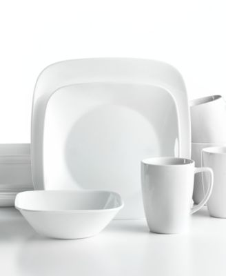 Corelle Dinnerware, Vivid White Square 16 Piece Set