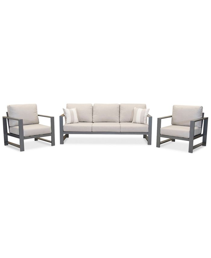 Furniture - Aruba Aluminum Outdoor 3-Pc. Seating Set (1 Sofa & 2 Club Chairs) with Sunbrella® Cushions