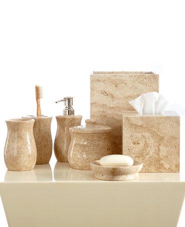 Roselli bath accessories travertine collection macy 39 s for The collection bathroom accessories