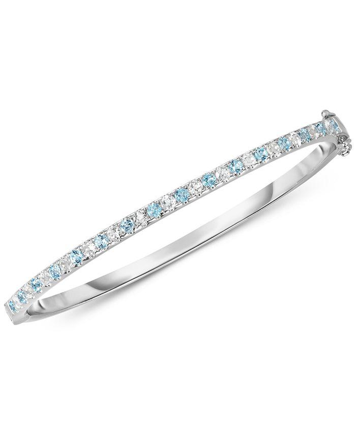 Macy's - Blue Topaz (1-3/8 ct. t.w.) & White Topaz (1-3/8 ct. t.w.) Bangle Bracelet in Sterling Silver