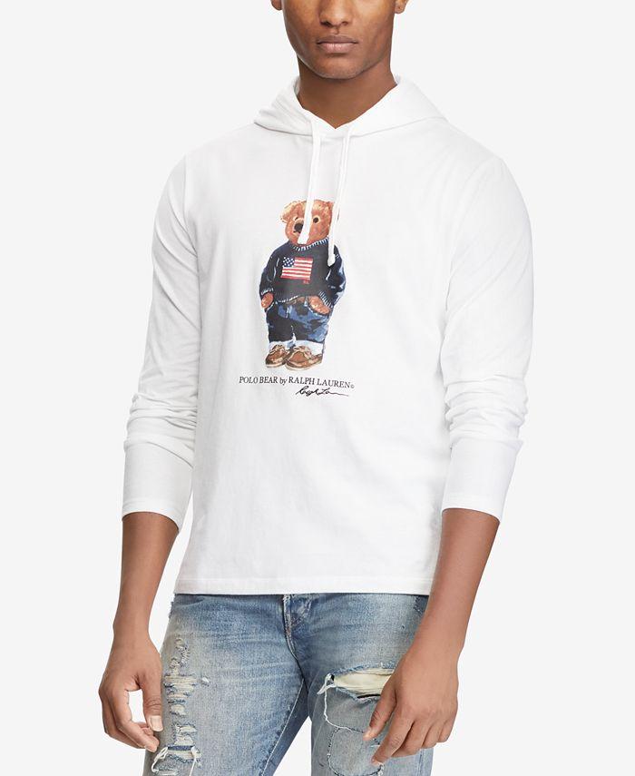 Polo Ralph Lauren Men's Polo Bear Long-Sleeve Hooded T-Shirt ...