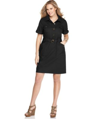 AGB Plus Size Dress, Short Sleeve Belted Shirtdress
