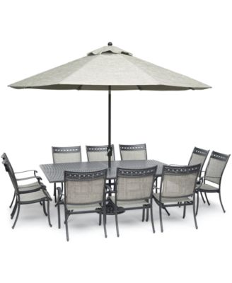 """Vintage II Outdoor Cast Aluminum 11-Pc. Dining Set (84"""" x 60"""" Table & 10 Sling Dining Chairs), Created for Macy's"""
