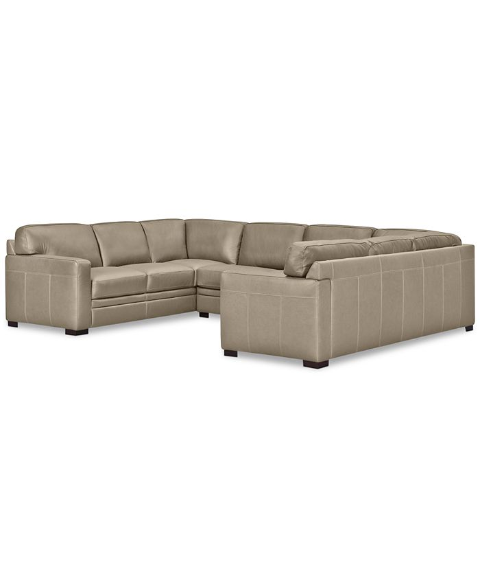 Furniture - Avenell 3-Pc. Leather Sectional with Sofa & Loveseat