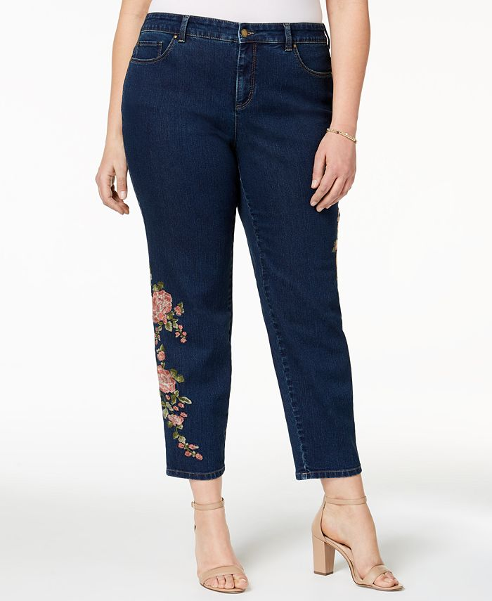 Charter Club - Plus Size Embroidered Ankle Jeans, Created for Macy's