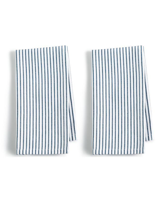 Martha Stewart Collection - 2-Pc. Pinstriped Navy Cotton Napkin Set