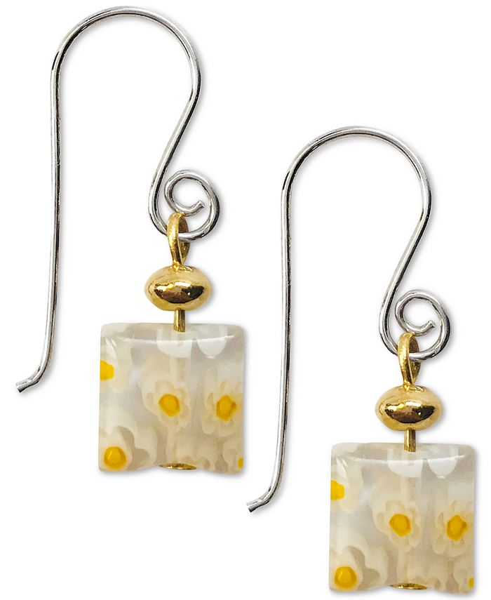 Jody Coyote - Millefiori Square Glass Bead Drop Earrings in Sterling Silver & Gold-Plate