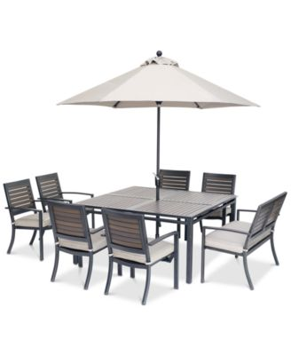 """Marlough II Outdoor Aluminum 8-Pc. Dining Set (62"""" Square Dining Table, 6 Dining Chairs and 1 Dining Bench) with Sunbrella® Cushions, Created for Macy's"""