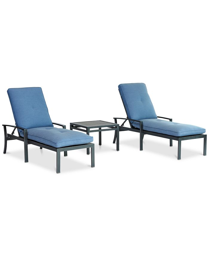 Furniture - Harlough II Outdoor 3-Pc. Chaise Set (2 Chaise Lounges, and 1 End Table) with Sunbrella® Cushions