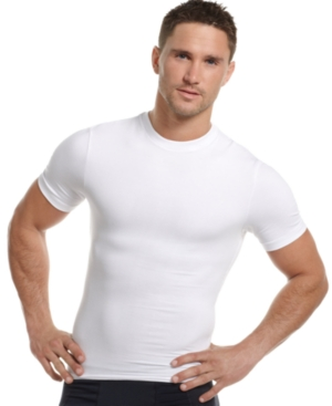 One Flat Jack Mens Body Shaper, Compression Crew Neck Tee