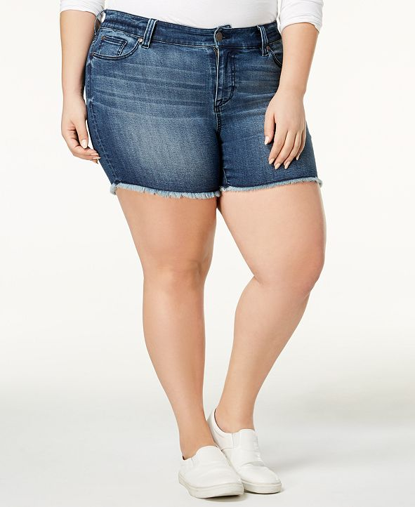 Celebrity Pink Trendy Plus Size High-Waisted Raw-Hem Denim Shorts