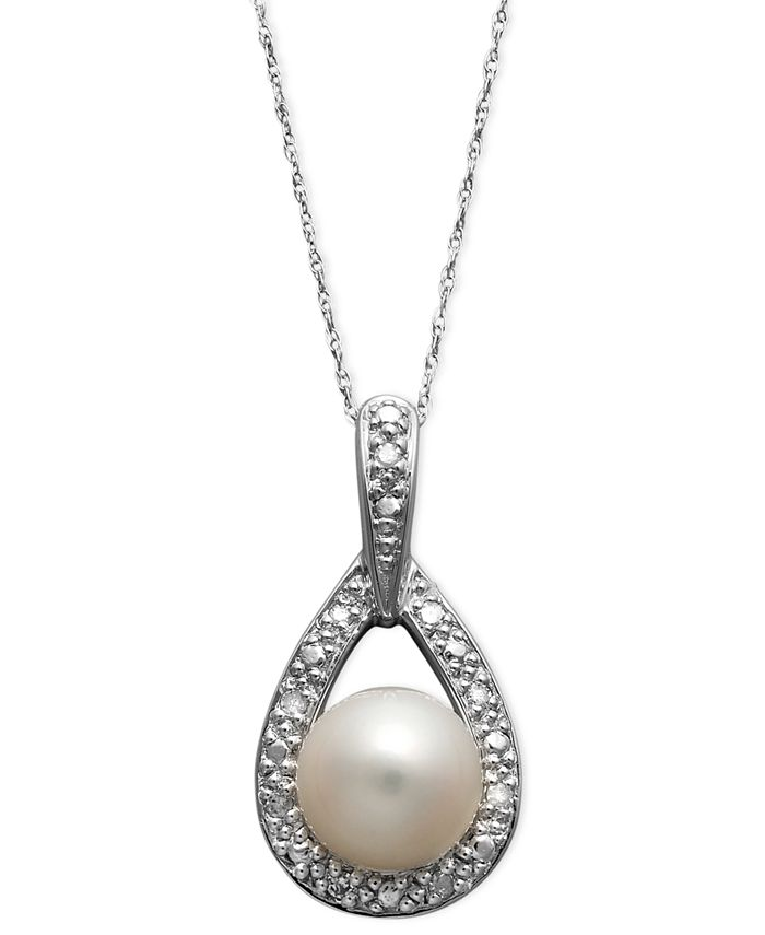 Belle de Mer - 14k White Gold Necklace, Cultured Freshwater Pearl (8mm) and Diamond Accent Teardrop Pendant