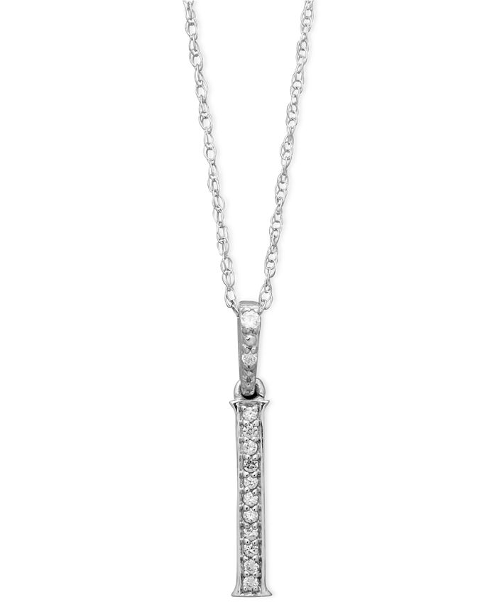 Macy's - 14k White Gold Necklace, Diamond Accent Letter I
