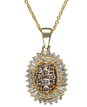 Effy Collection Necklace, 14k Gold Cognac Diamond and White Diamond Oval Burst Pendant (3/4 ct. t.w.)