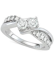 Diamond Two-Stone Diamond Engagement Ring (1 ct. t.w.) in 14k White Gold