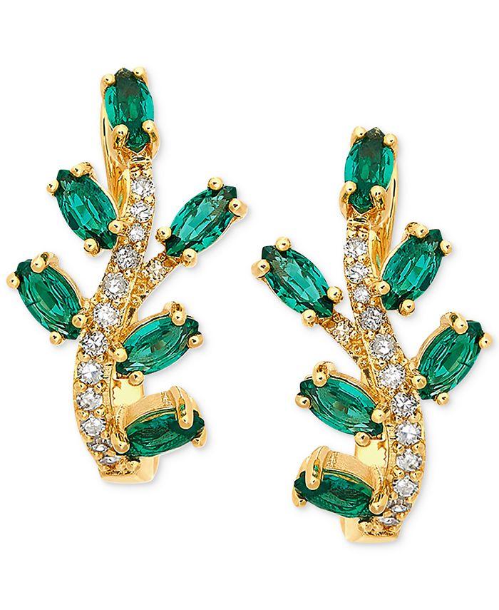 Macy's - Emerald (1 ct. t.w.) & Diamond (1/8 ct. tw.) Stud Earrings in 14k Gold