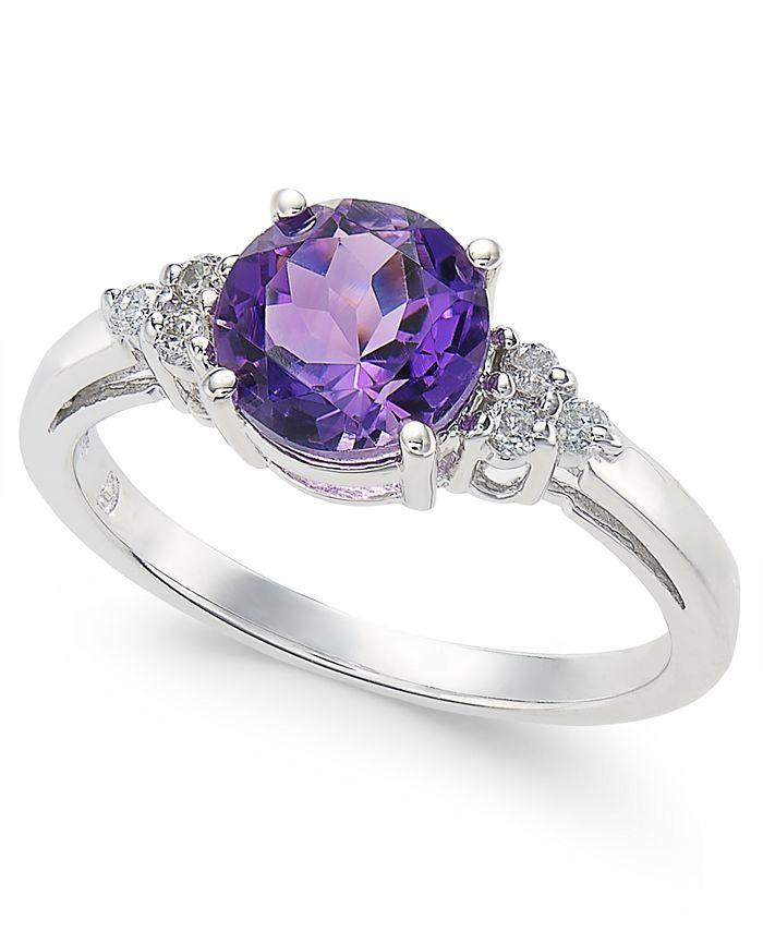 Macy's - Amethyst (1 ct. t.w.) & Diamond (1/10 ct. t.w.) Ring in 14k White Gold