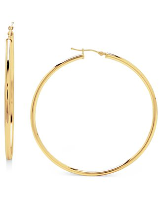 14k Gold Earrings, Large Polished Hoop