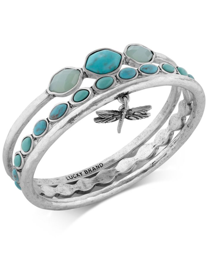 Lucky Brand Bracelet Set, Silver-Tone Turquoise Dragonfly Bangle Bracelets & Reviews - Bracelets - Jewelry & Watches - Macy's