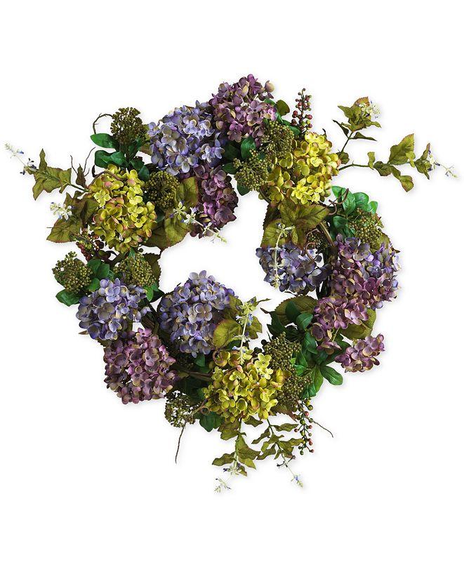 "Nearly Natural 24"" Hydrangea Wreath"