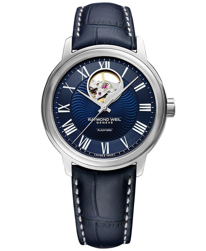 Raymond Weil - Men's Swiss Automatic Maestro Blue Leather Strap Watch 39.5mm
