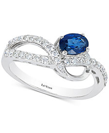 Le Vian® Blueberry Sapphire™ (1/2 ct. t.w.) & Diamond (1/3 ct. t.w.) Ring in 14k White Gold