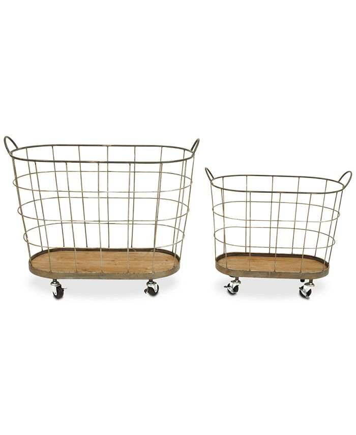 3R Studio - Metal Rolling Laundry Baskets, Set of 2