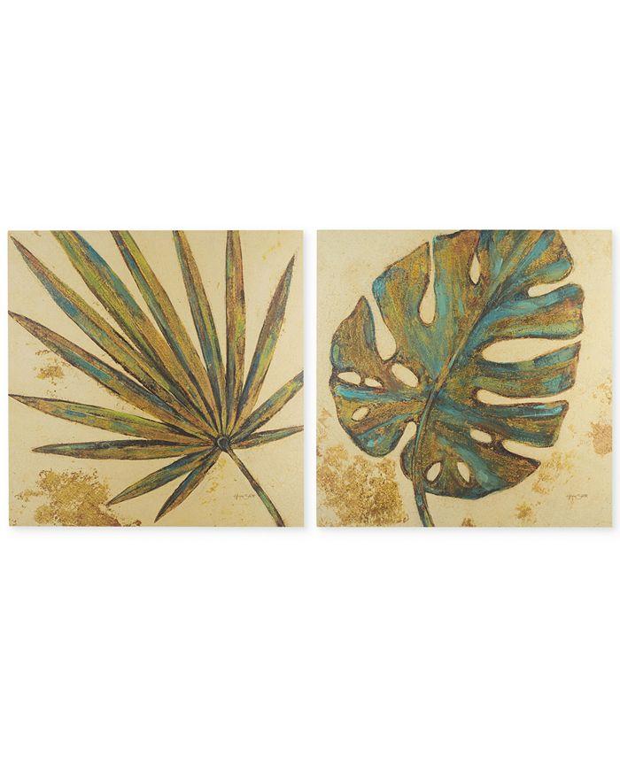 JLA Home - Palm Grove Green 2-Pc. Linen Canvas Print Set