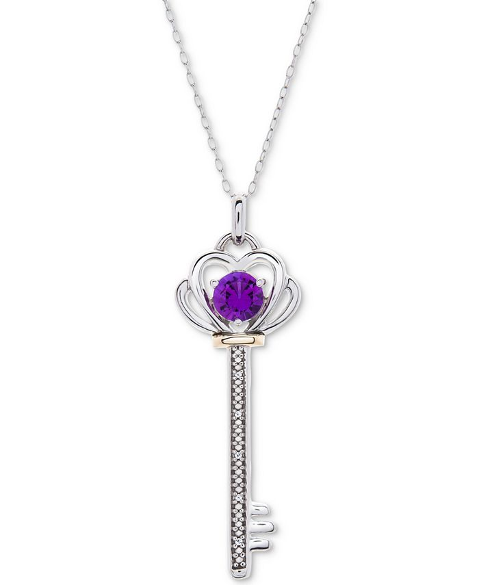 """Macy's - Blue Topaz (5/8 ct. t.w.) & Diamond Accent Key 18"""" Pendant Necklace in Sterling Silver & 10k Gold"""