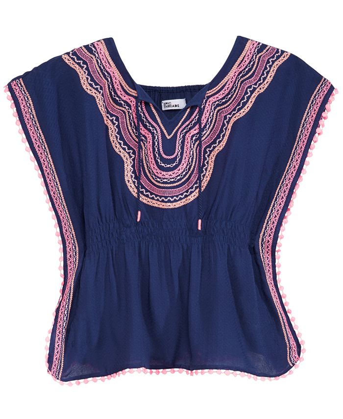Epic Threads - Embroidered Caftan Top, Big Girls