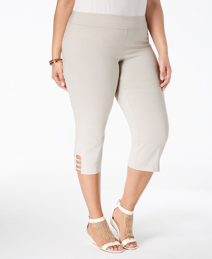 JM Collection - Plus Size Cutout-Hem Cropped Pants
