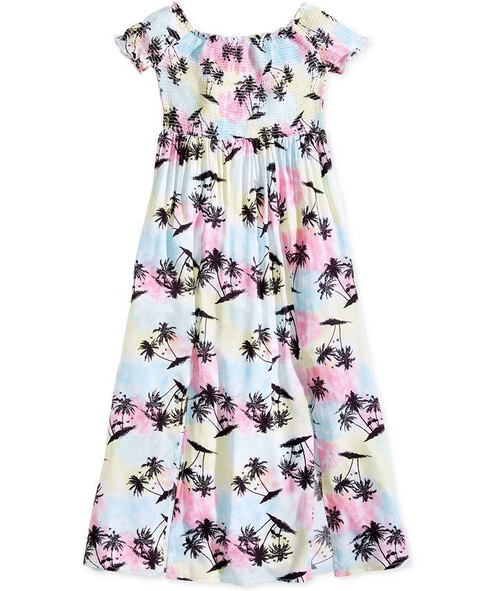 Epic Threads - Smocked-Bodice Slit Printed Maxi Dress, Big Girls