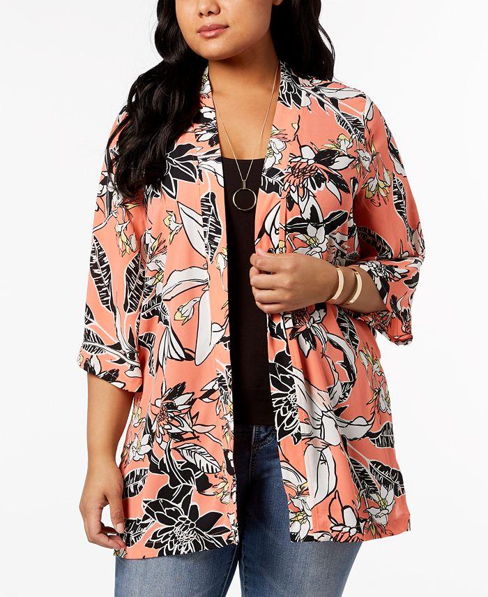 NY Collection - Plus Size Printed Kimono Jacket